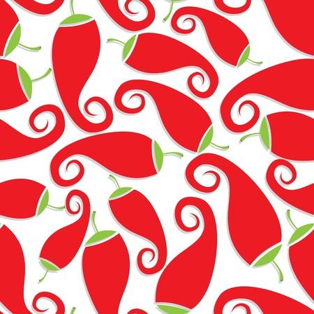cayenne: Seamless chili pepper wallpaper.  Hot vector illustration.