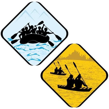 물 바다 스포츠에서 조정 및 카누 래프팅 카약 아이콘 기호 픽토그램 벡터 극단적 인 기호 그림
