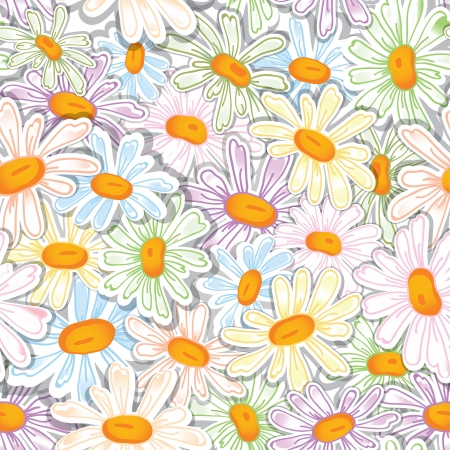 Flower camomile seamless pattern pastel background  Daisies medical sketch illustration  Vector
