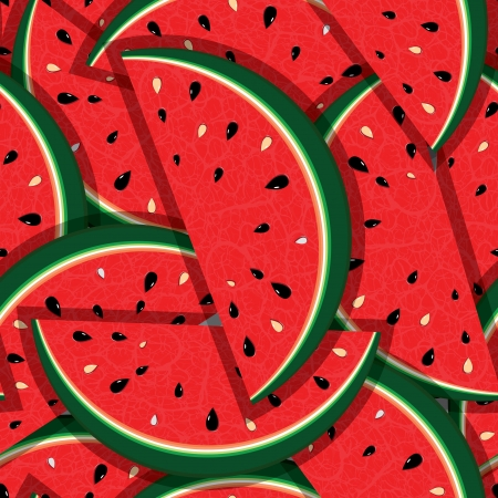 Watermelon fresh slices seamless background  Red sweet juice pattern illustration