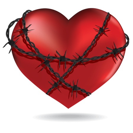 Red heart  with barbed metal wire 3d   Valentines design illustration sacred object  Illustration