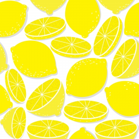 Lemon seamless background isolated on white  pattern of medical food  Tropical symbol  Vector