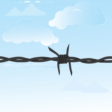 Barbed wire seamless background   fence illustration isolated on white  Protection concept design  Vector