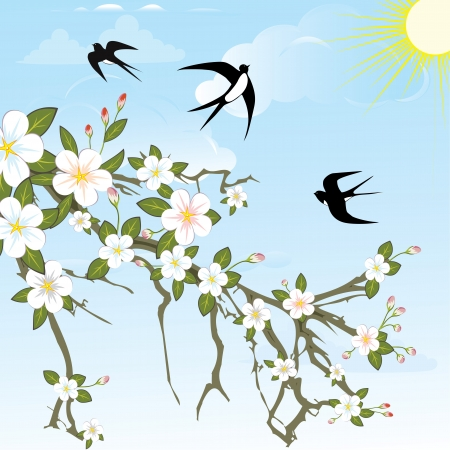 barn swallow: Flower background pattern tree  with birds. Vector nature illustration. Illustration