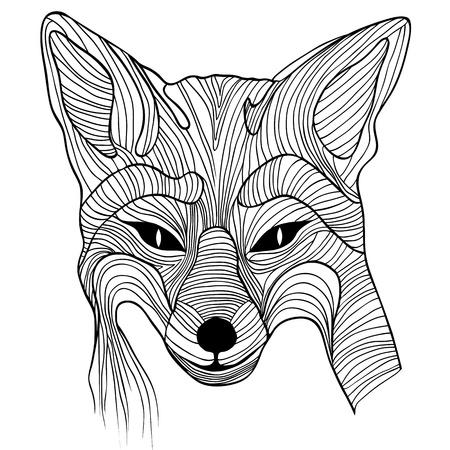 폭스 동물 스케치 문신 기호 그림.