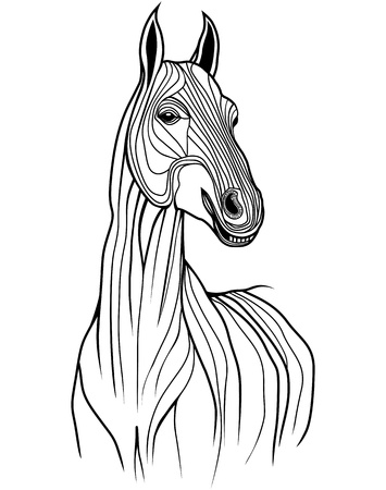 filly: Horse head animal illustration for t-shirt  Sketch tattoo design