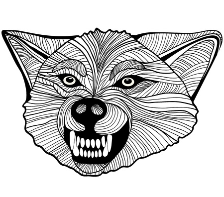 Wolf head animal illustration for t-shirt. Sketch tattoo design. Vector