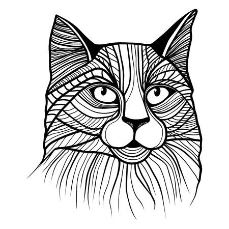 T-셔츠 고양이 머리 벡터 동물 그림. 스케치 문신 디자인. 일러스트