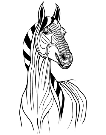 pony ride: Horse head vector animal illustration for t-shirt. Sketch tattoo design.