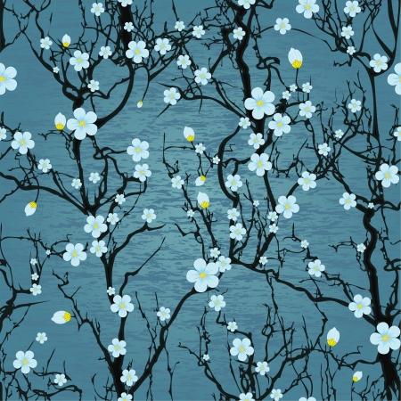 패턴 나무 일본 벚꽃의 꽃 현실적인 사쿠라 벡터 자연 그림 원활한 물 배경 일러스트
