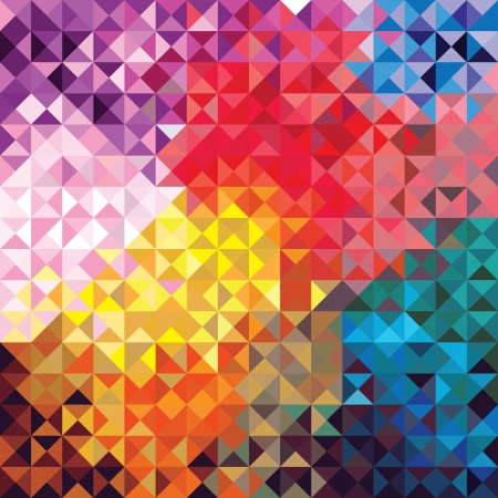 Retro seamless pattern of geometric shapes  Colorful mosaic banner  Geometric triangle vector hipster background  Vector