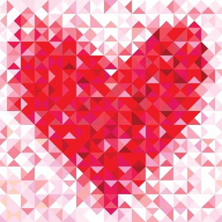 기하학적 마음의 원활한 사랑 패턴 다채로운 다이아몬드 모자이크 배너 삼각형 벡터 소식통 배경