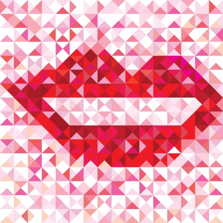 Seamless lip love pattern of geometric kiss  Colorful banner triangle vector hipster background Stock Vector - 20028269
