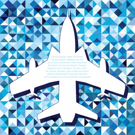 Plane space for text air fly cloud sky geometric blue  seamless travel background  Airplanes vector illustration  Vector