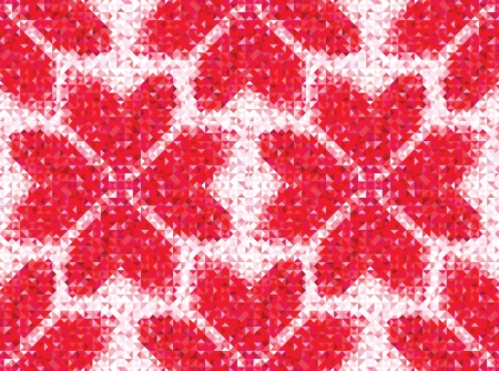 Flower seamless love pattern of geometric heart  Colorful diamond mosaic banner triangle vector hipster background  Stock Vector - 20028262