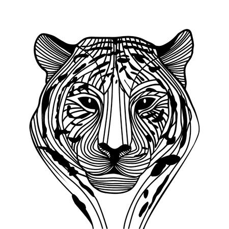 動物: 虎頭矢量動物插圖T卹素描紋身圖案