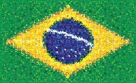 rundown: Brazil flag, texture created in triangles grunge style Illustration