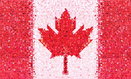 Canada flag. Grunge mosaic geometric pattern banner triangle . Abstract maple. Vector