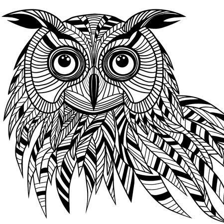 sowa: Głowa ptaka Sowa jako symbol halloween na maskotkę lub wzoru godła, ilustracji wektorowych logo na t-shirt projektowania Szkic tatuaż