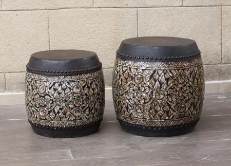bongo drum: Drum tomtom old fashioned Thai drums antique musical instrument