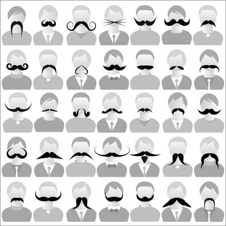 Geïsoleerd Snorren set snor pictogrammen set Movember, kostuum partij op man gezicht Body sjabloon voor de lol sociale communicatie vector Stock Illustratie