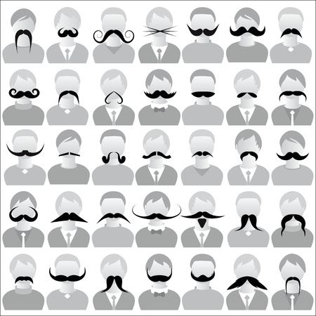 fake smile: Moustaches set mustache icons isolated set movember, costume party on man face  Body template for fun social communication vector  Illustration