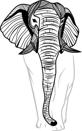 siluetas de elefantes: Pista del elefante de la mascota o emblema de diseño, ilustración de animal para la camiseta del tatuaje del bosquejo de viaje safari símbolo