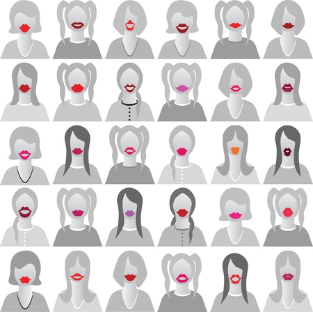 costume party: Lip smile set icons isolated set movember, costume party on woman face  Body template for fun social communication vector