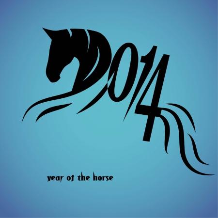 Paard 2014 jaar Chinese symbool vector illustratie tattoo ontwerp Stock Illustratie