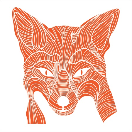 Fox animal sketch tattoo symbol illustration  Foxy dog t-shirt icon  Travel design  Vector
