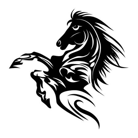디자인 격리 된 동물 상징에 대한 말 문신 기호 새해 일러스트