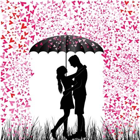 흰색에 고립 된 우산 아래 발렌타인 데이 배경 젊은 사람들이 사랑에 몇 심장 비 남자와 여자의 키스