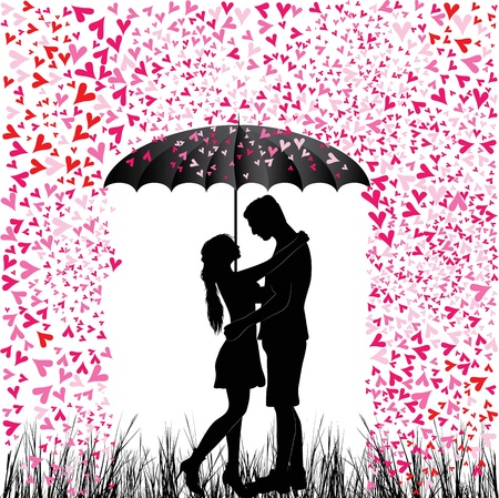 teenagers love: Kissing couple heart rain  Man and woman in love  Valentine day background  Young people under umbrella  Isolated on white  Illustration