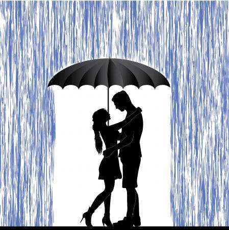 UOMO pioggia: Baciare le coppie uomo e la donna in amore San Valentino Day sfondo I giovani sotto l'ombrello isolato su bianco Vettoriali