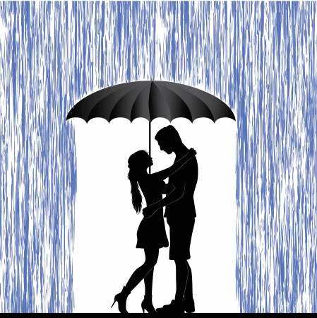 honeymoon: Kissing couple  Man and woman in love  Valentine day background  Young people under umbrella  Isolated on white