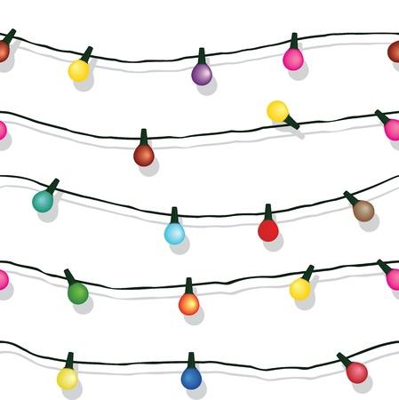 シームレスなクリスマス ライトの文字列ガーランドの背景は白で隔離されます。 写真素材 - 21490425