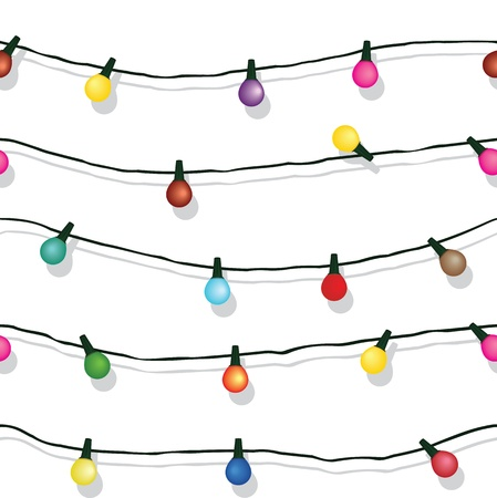 lights: Seamless string of Christmas lights on garland background  isolated on white