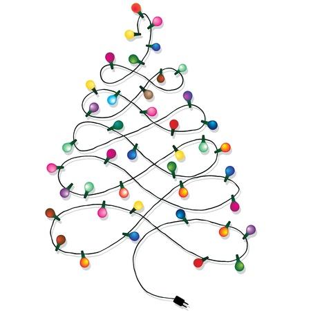 クリスマスの背景は白で隔離されるのクリスマス ツリー ガーランド ライト文字列