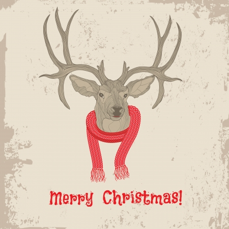 Deer vintage Christmas card animal illustration  Sketch tattoo design  Vector