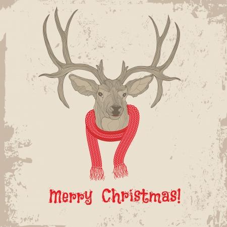 deers: Deer Vintage Tarjeta del animal de la ilustraci�n del dise�o del tatuaje del bosquejo de Navidad