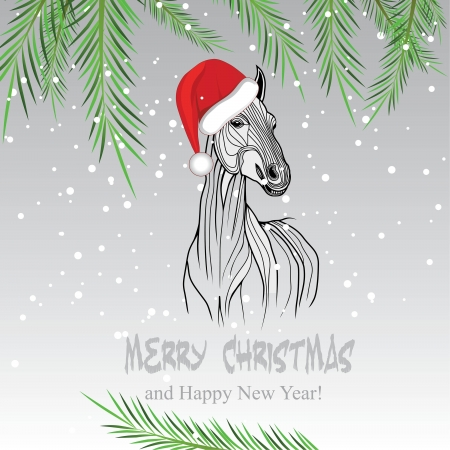 Horse merry Christmas card 2014 year chinese symbol illustration image tattoo design  Vector