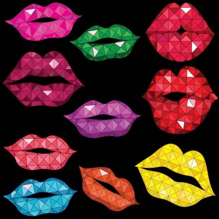 beso labios: Mujer brillante boca de labios beso Mujer roja ilustración de arte lápiz de labios Vectores