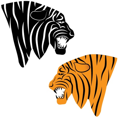 Tiger head animal illustration for t-shirt  Sketch tattoo design  Vector