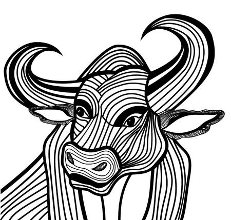 T-셔츠 스케치 문신 디자인에 대한 황소 머리 벡터 동물 그림