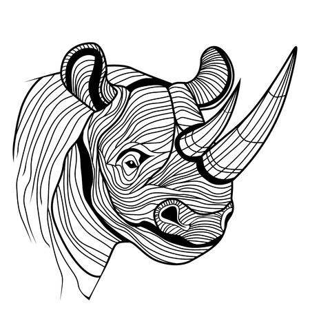 Rhino cabeza de animal rinoceronte como símbolo de la mascota o el diseño de emblema, logotipo ilustración vectorial para el diseño del tatuaje del bosquejo t-shirt