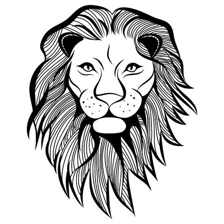 T-셔츠 사자 머리 동물 그림. 스케치 문신 디자인