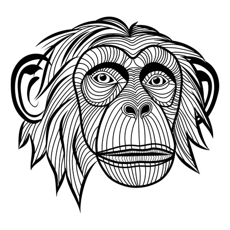 Mono chimpancé mono animal de la cabeza, símbolo de simio para la mascota o emblema de diseño, ilustración para el diseño del tatuaje del bosquejo t-shirt