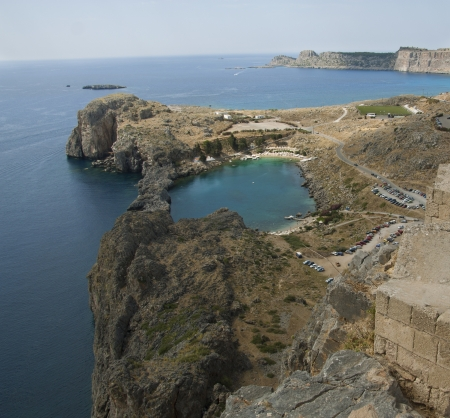 Looking down onto St Pauls Bay at Lindos on the Island of Rhodes Greece photo. Water heart love lake. Travel concept. photo