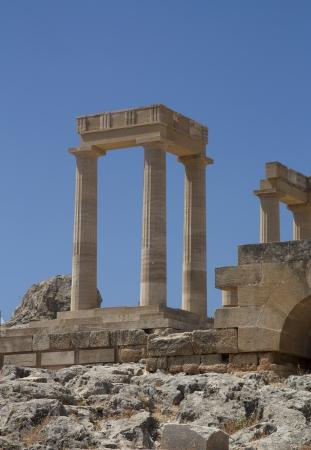 lindos: Columns ancient acropolis in Rhodes. Lindos city. Greece photo.
