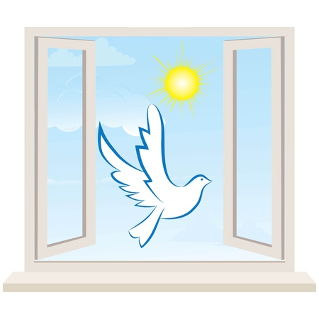 open wings: Dove bird pigeon fly in open window to sunny sky  Freedom illustration